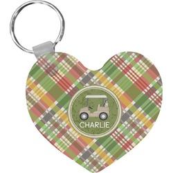 Golfer's Plaid Heart Keychain (Personalized)