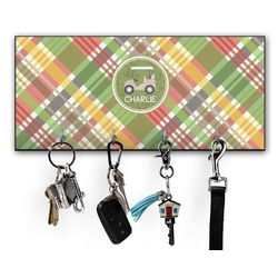 Golfer's Plaid Key Hanger w/ 4 Hooks w/ Graphics and Text