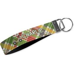 Golfer's Plaid Wristlet Webbing Keychain Fob (Personalized)