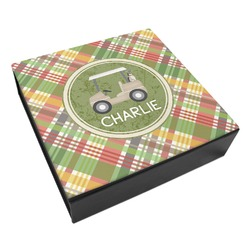 Golfer's Plaid Leatherette Keepsake Box - 3 Sizes (Personalized)