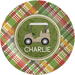 Golfer's Plaid Melamine Plate (Personalized)
