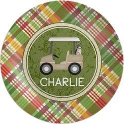 Golfer's Plaid Melamine Plate (Personalized)
