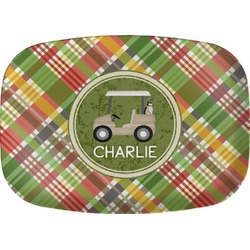 Golfer's Plaid Melamine Platter (Personalized)