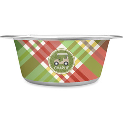 Golfer's Plaid Stainless Steel Pet Bowl (Personalized)