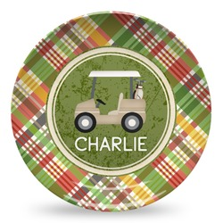 Golfer's Plaid Microwave Safe Plastic Plate - Composite Polymer (Personalized)