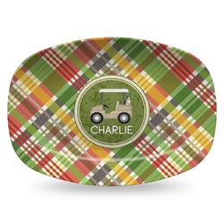 Golfer's Plaid Plastic Platter - Microwave & Oven Safe Composite Polymer (Personalized)