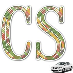 Golfer's Plaid Monogram Car Decal (Personalized)