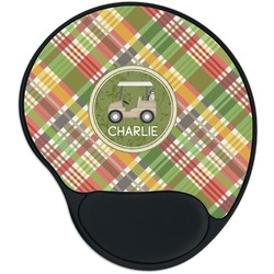 Golfer's Plaid Mouse Pad with Wrist Support