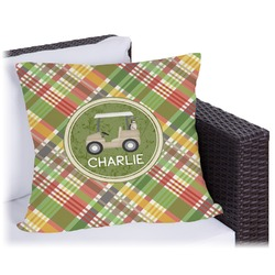Golfer's Plaid Outdoor Pillow (Personalized)