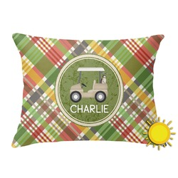 Golfer's Plaid Outdoor Throw Pillow (Rectangular) (Personalized)