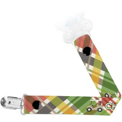 Golfer's Plaid Pacifier Clips (Personalized)