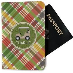Golfer's Plaid Passport Holder - Fabric (Personalized)