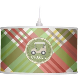 Golfer's Plaid Drum Pendant Lamp Linen (Personalized)