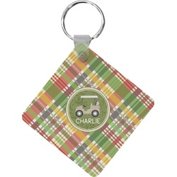Golfer's Plaid Diamond Key Chain (Personalized)