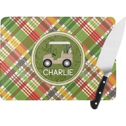Golfer's Plaid Rectangular Glass Cutting Board (Personalized)