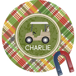 Golfer's Plaid Round Magnet (Personalized)