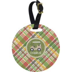 Golfer's Plaid Round Luggage Tag (Personalized)