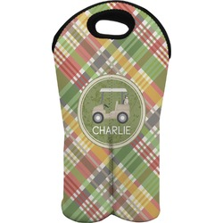Golfer's Plaid Wine Tote Bag (2 Bottles) (Personalized)