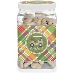 Golfer's Plaid Pet Treat Jar (Personalized)