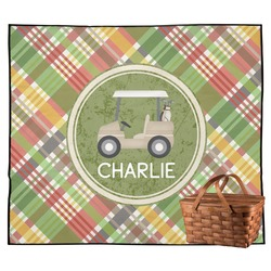 Golfer's Plaid Outdoor Picnic Blanket (Personalized)