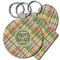 Golfer's Plaid Plastic Keychains (Personalized)