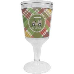 Golfer's Plaid Wine Tumbler - 11 oz Plastic (Personalized)