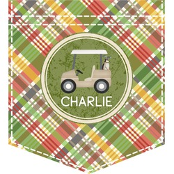 Golfer's Plaid Iron On Faux Pocket (Personalized)