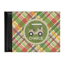 Golfer's Plaid Genuine Leather Guest Book (Personalized)