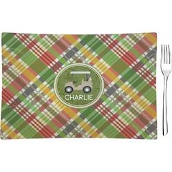 Golfer's Plaid Rectangular Glass Appetizer / Dessert Plate - Single or Set (Personalized)
