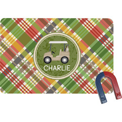 Golfer's Plaid Rectangular Fridge Magnet (Personalized)