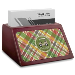 Golfer's Plaid Red Mahogany Business Card Holder (Personalized)