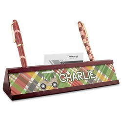 Golfer's Plaid Red Mahogany Nameplate with Business Card Holder (Personalized)