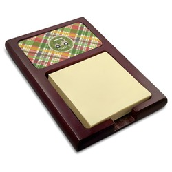 Golfer's Plaid Red Mahogany Sticky Note Holder (Personalized)