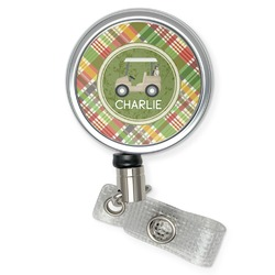 Golfer's Plaid Retractable Badge Reel (Personalized)