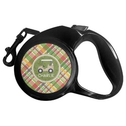 Golfer's Plaid Retractable Dog Leash (Personalized)