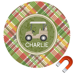 Golfer's Plaid Round Car Magnet (Personalized)
