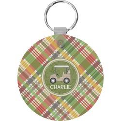 Golfer's Plaid Round Keychain (Personalized)