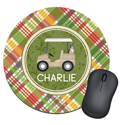 Golfer's Plaid Round Mouse Pad (Personalized)