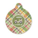 Golfer's Plaid Round Pet ID Tag (Personalized)