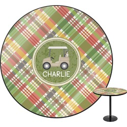 Golfer's Plaid Round Table (Personalized)