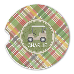 Golfer's Plaid Sandstone Car Coasters (Personalized)