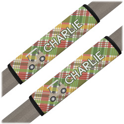 Golfer's Plaid Seat Belt Covers (Set of 2) (Personalized)