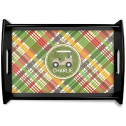 Golfer's Plaid Black Wooden Tray (Personalized)