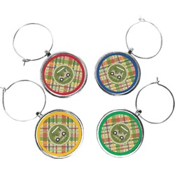 Golfer's Plaid Wine Charms (Set of 4) (Personalized)