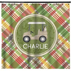 Golfer's Plaid Shower Curtain (Personalized)
