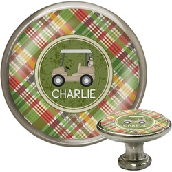 Golfer's Plaid Cabinet Knob (Silver) (Personalized)