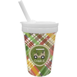 Golfer's Plaid Sippy Cup with Straw (Personalized)