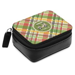 Golfer's Plaid Small Leatherette Travel Pill Case (Personalized)