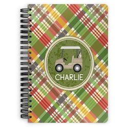 Golfer's Plaid Spiral Bound Notebook (Personalized)