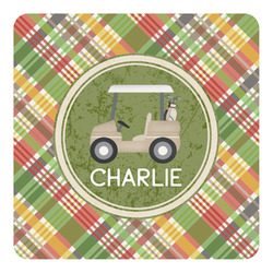 Golfer's Plaid Square Decal - Custom Size (Personalized)